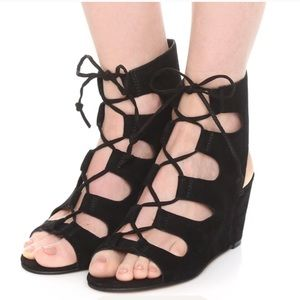 Suede Black Ankle Lace Up Boho Wedge Sandal